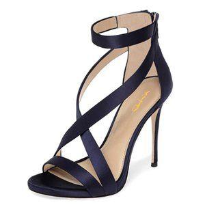 XYD Open Toe Ankle Strap Sandals Criss Cross Heels